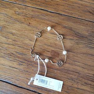Tory Burch Crystal Pearl Delicate Logo Bracelet